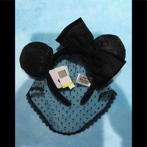 Disney. Black lace ears with big bow new
